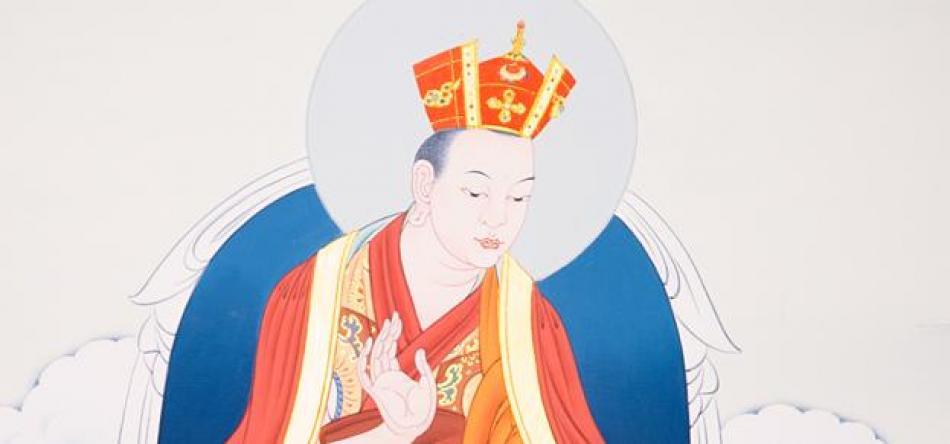 Thangka Shamarpa mit roter Krone