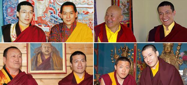 Oben links: Seine Heiligkeit der 17. Gyalwa Karmapa und der König von Bhutan, Jigme Wangchuk; Oben rechts: Karmapa und Drikung Chetsang Rinpoche; Unten links: Karmapa und Hambo Lama Damba Ayusheeyev; Unten rechts: Karmapa und Dilgo Khyentse Yangsi Rinpoche